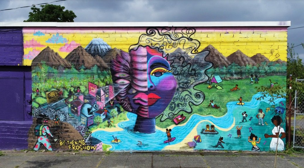 """Photo of the """"Find Yourself Outside"""" mural."""