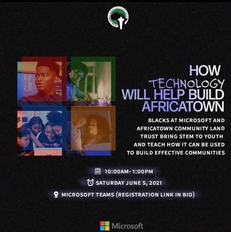 """Digital flyer for """"How Technology Will Help Build Africatown"""" workshop."""