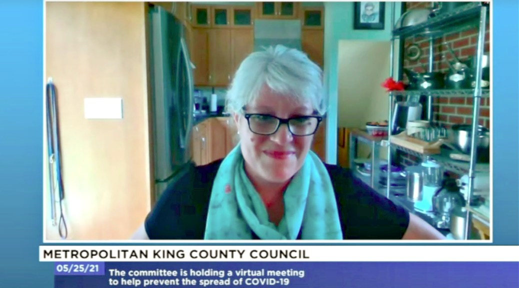 Featured Image: Screenshot of King County Council Chair Claudia Balducci during an online meeting of the King County Metropolitan Council on May 25, 2021 in which the council passed a supplemental budget that included $367 million in federal American Rescue Plan Act (ARPA) funding.