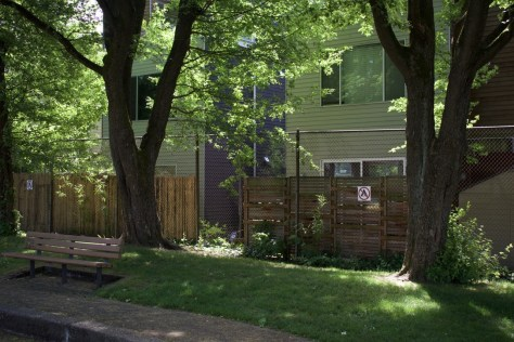Photo of a home with an installed security camera and motion-sensored light directed towards the fence and park.