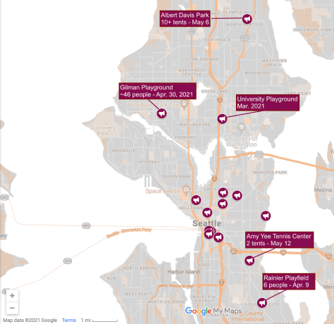 Map depicting downtown and North Seattle with areas highlighted by purple icons that indicate where homeless sweeps have occurred.