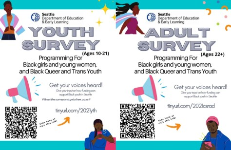 City of Seattle Youth and Adult education survey posters