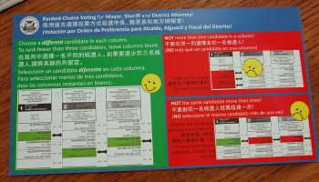Ranked-choice ballot envelopes. Featured image is attributed to janinsanfran under a Creative Commons 2.0 license.