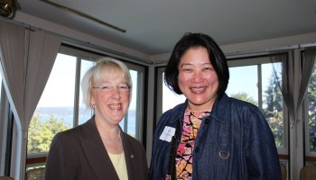 Beth Takekawa with Senator Patty Murray at a political fundraiser at the late Vera Ing's home in Mt. Baker. (Photo: Sharon Maeda)