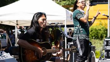 Daniel Pak (left) and Prometheus Brown (right) perform a live piece at Hing Hay Park.