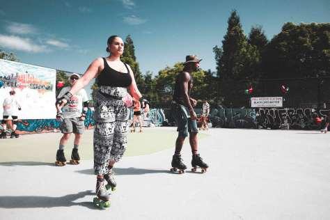 Community members skate during a 2020 Juneteenth celebration held at Judkins Park.