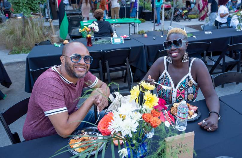 Jamala Myres and Marie Kidhe celebrating during the Reunion on Union Community Dinner and Block Party