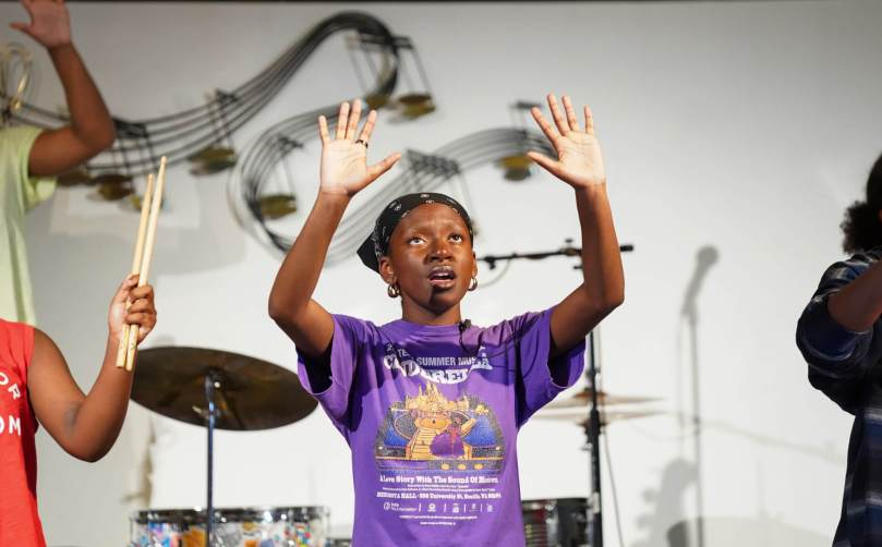Vashti Randolph, 17, who plays Blank Chequelle in the musical, rehearses with her cast mates