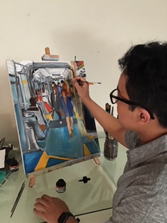 Photo of Ray Daoed painting.