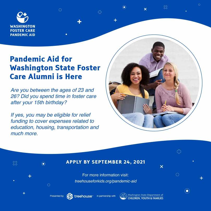Flyer depicting details for the Washington Foster Care Pandemic Aid application process.