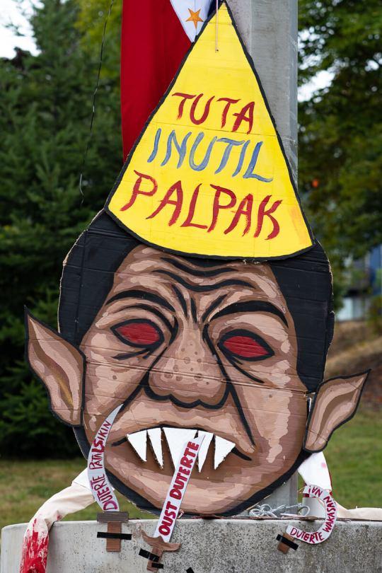 Local Filipino American artists created this piece depicting Philippine President Rodrigo Duterte.