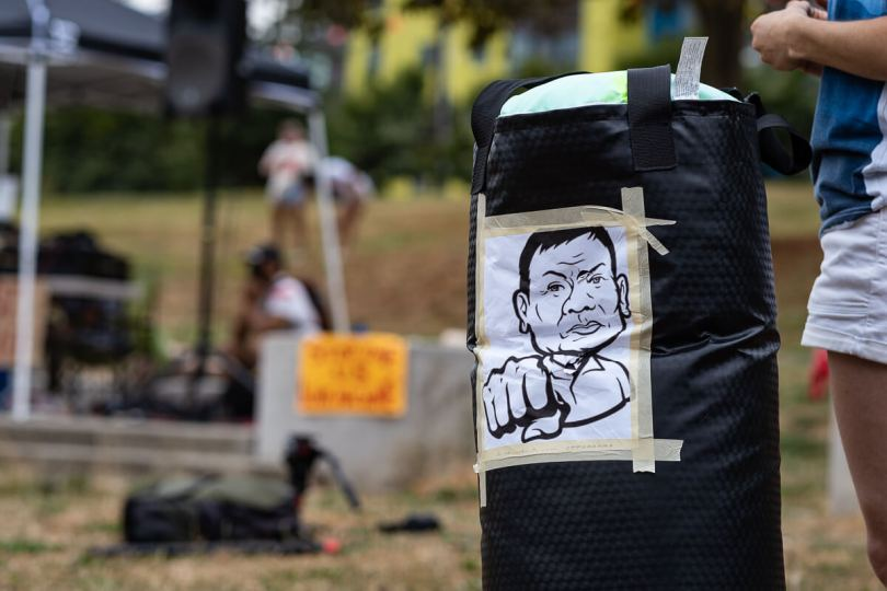 A printout of Philippine President Rodrigo Duterte was attached to a boxing bag that was punched several times during the event.