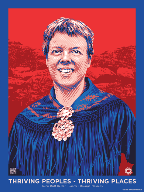 Image depicting Gunn-Britt Retter in blue and red regalia against a red background.