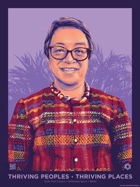 Art depicting Vicky Tauli Corpuz against a purple background.