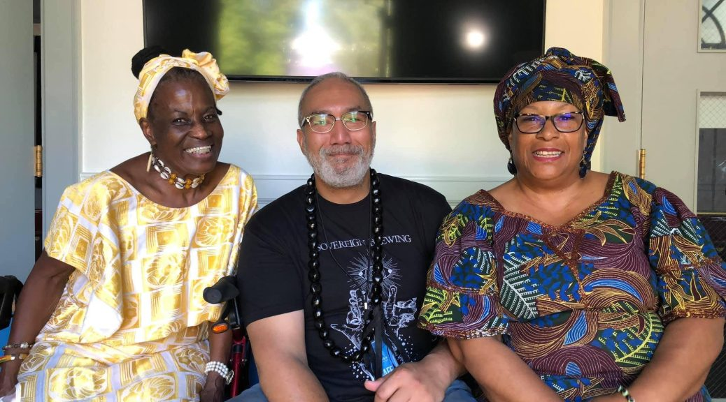Photo of Kibibi Monie (left), Ben Leiataua (middle), and Kouyate Arts (right) seated and smiling at the camera.