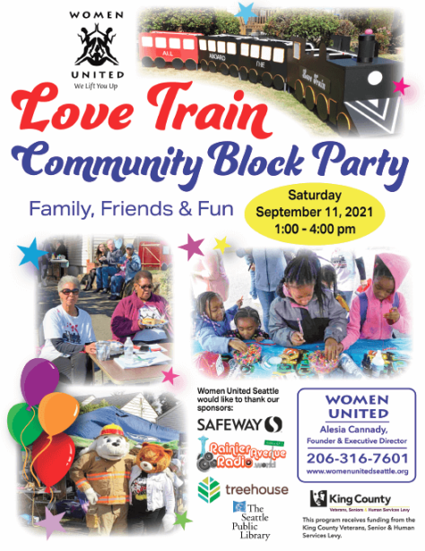 Flyer advertising the Love Train Community Block Party event on Sept. 11, 2021.