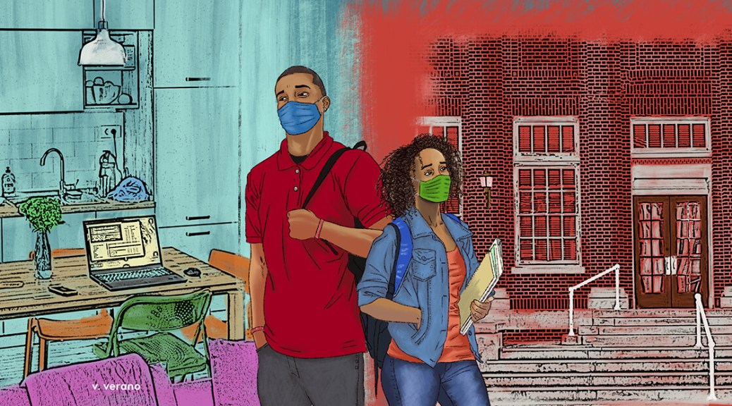 Illustration depicting two Black-presenting young adults (male-presenting on the right and female-presenting on the left). The male-presenting youth with a blue surgical face mask and red shirt looks into a blue living/dining area with an opened laptop computer. The female-presenting youth with a green surgical face mask looks at a bright-red brick school building entrance. Both youth carry school supplies (in a backpack and in their arms).