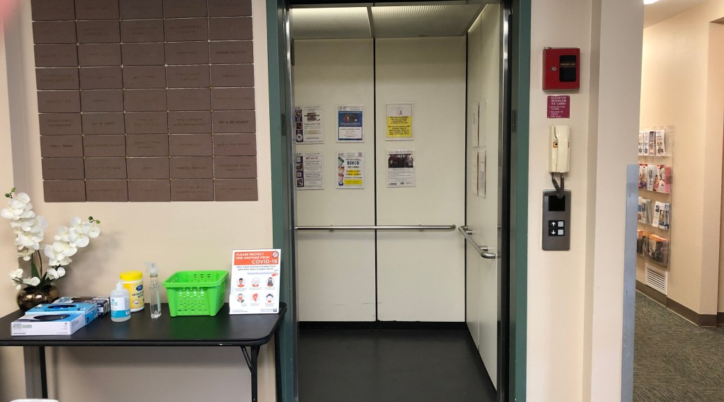 Photo depicting an opened elevator at the Southeast Seattle Senior Center.