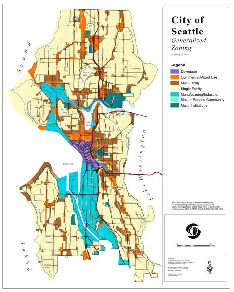 Map depicting the zoning areas of Seattle as of May 16, 2019.