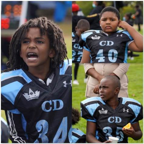 Photo collage depicting CD Panthers 7U players listening to their coaches.
