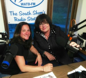 Dr. Jennifer G. Mayer (left) in the 95.9 WATD-FM studio with show co-host Patti Abbate