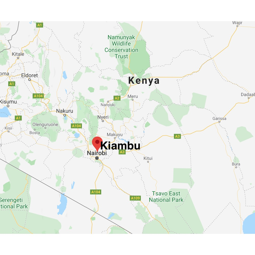 Map of location of Kiambu in Kenya location of plantation of Fram Farm coffee plantation