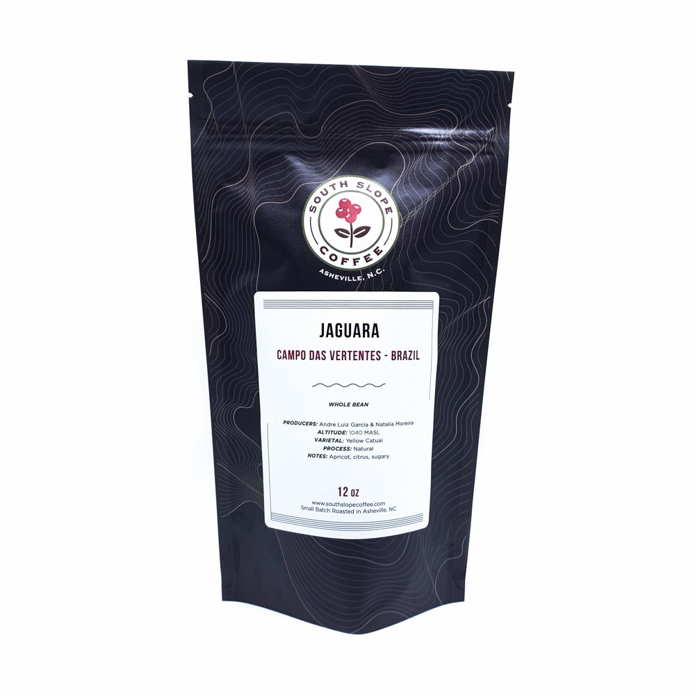 12 ounce bag of roasted coffee from Brazil called Jaguara roasted by South Slope Coffee