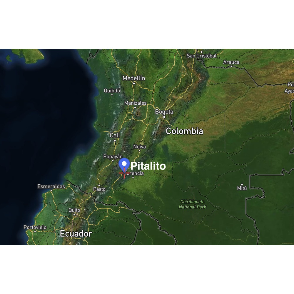 Map of location of Alfonso Sambony's farm in Pitalito Colombia