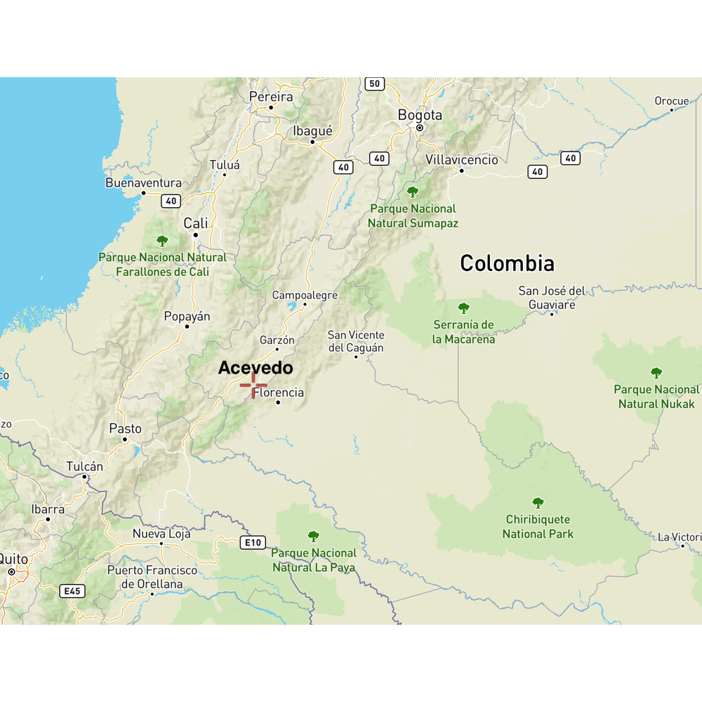 Map of location of Acevedo Colombia