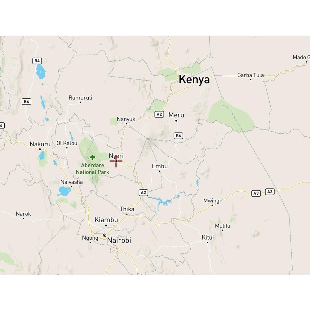 map of location of Nyeri in Kenya