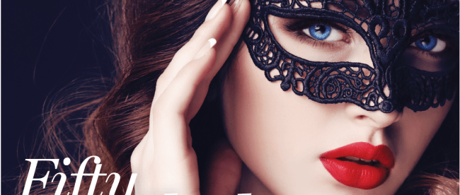 Adult novelty store magazine cover with masked woman