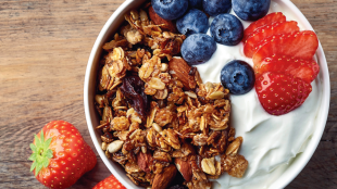 HEALTHY BACTERIA High in vitamin D and protein, whole milk yogurts topped with fresh fruit and a small amount of granola help maintain gut health.