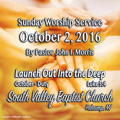 Oct 2 2016 Sermon