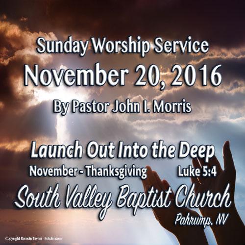 Nov 20 2016 Sermon