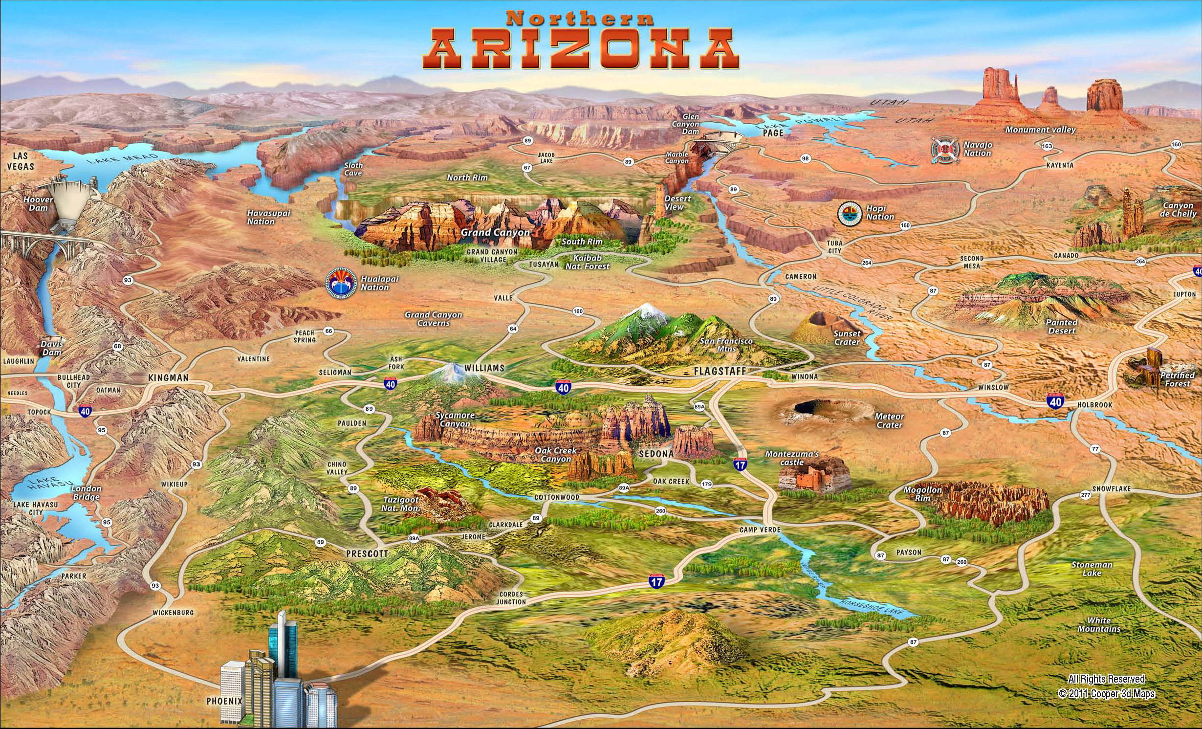 Southwest Tours Grand Canyon Page Las Vegas Phoenix Flagstaff – Arizona Travel Map