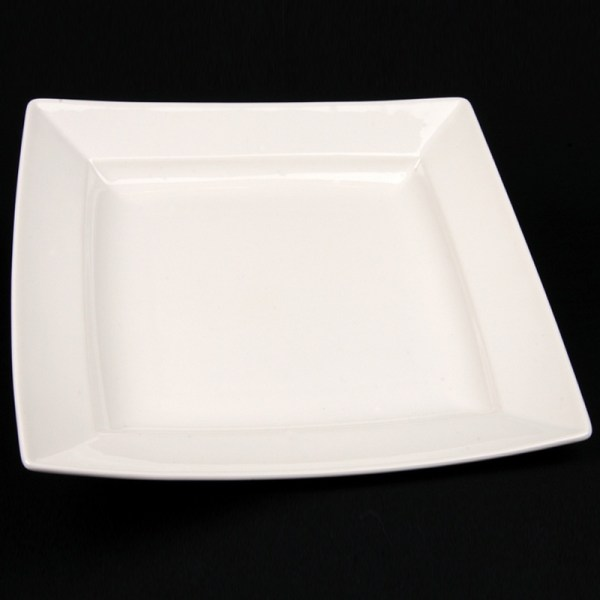 square white china dinner plate