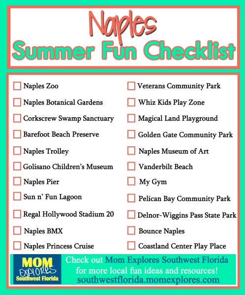 Summer Fun Checklist in Naples