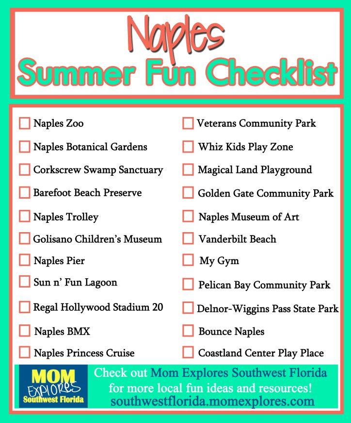 Naples Summer Fun Checklist. If you are looking for something fun to do in Naples, FL then this is the list for your family! Print it out for free and do fun things with the kids around town all summer.