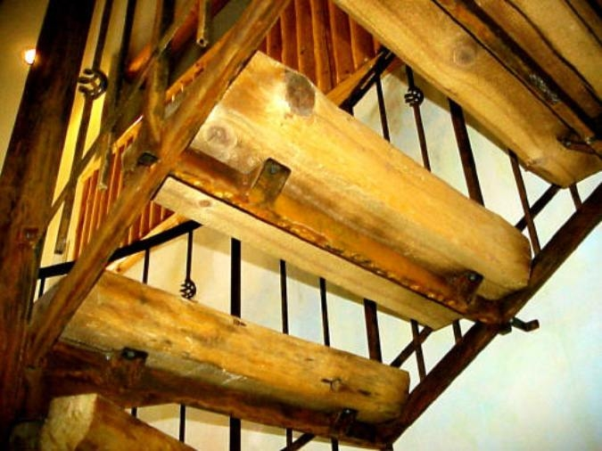 S W Wood Stairs Pine Slabs Spiral Wood Stairs Hand Peeled Raing | Iron And Wood Staircase | Traditional | Spiral | White | Internal | Cherry Wood