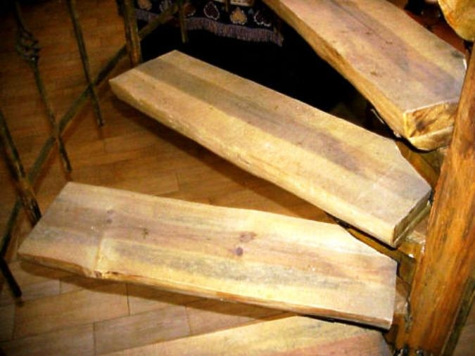 S W Wood Stairs Pine Slabs Spiral Wood Stairs Hand Peeled Raing | Southern Yellow Pine Stair Treads | Hazardous | Stained Pine | Black Stained | Staining | Bullnose