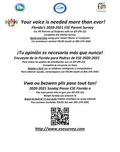 2020-2021 ESE Parent Survey