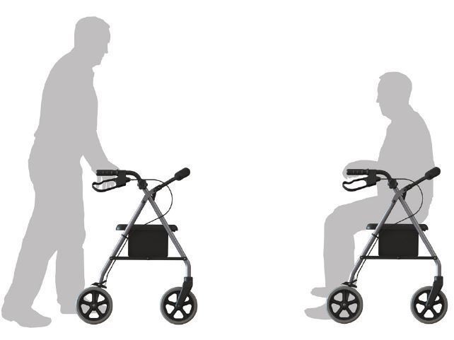 NEW Four Wheel Walker Rollator Seat Walker Mobility Walker