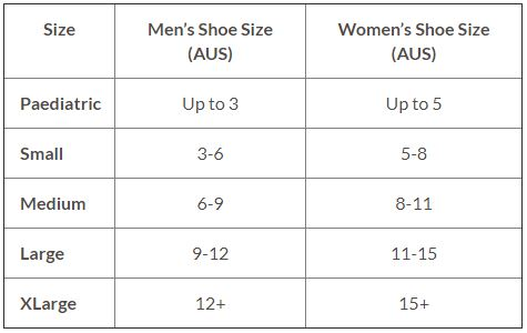 Size Chart Aircast Standard