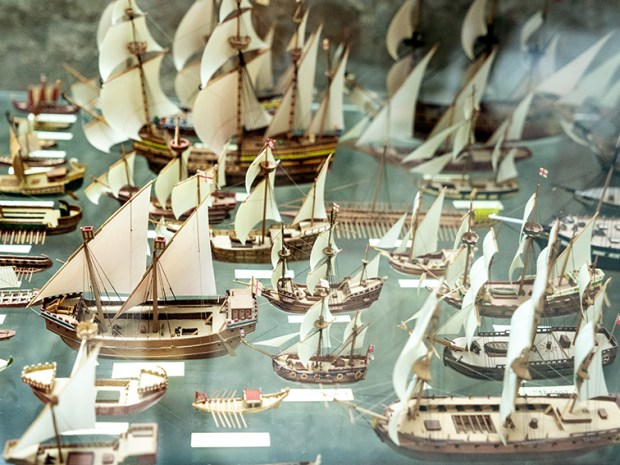 Museum display of boats