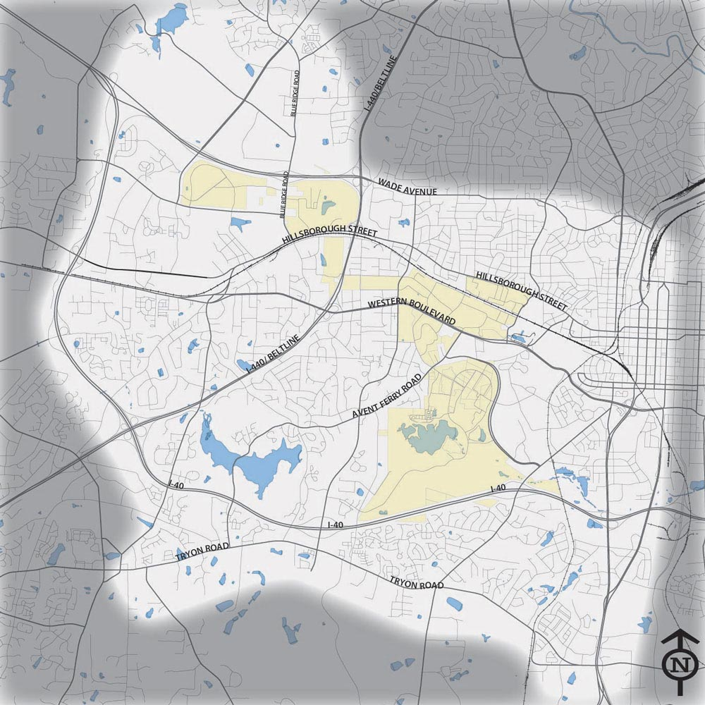 map of south west raleigh