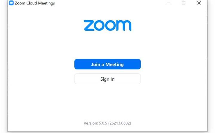 Zoom app login screen