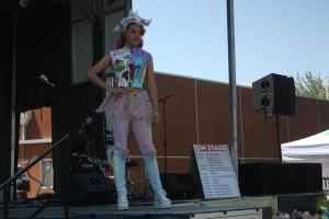 Hiu Lin Li struts in a recycled outfit made of scrap fabric from previous fashion assignments on Apr. 20 for GreenFest at UNLV.<br>Photo Credit: Tamara Navarro