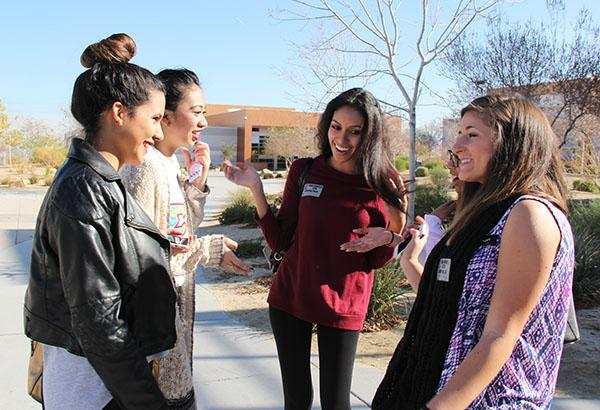 """Former graduates Paula Aguilera, Mary Ashley, Michelle Tostes, Tiffany Ramos and Maryam Mustafic visited the campus on Dec. 19 for Alumni day. The five of them caught up outside in the quad and attended presentations to answer questions from current students. """"Coming back to Southwest gave back amazing memories that I've made here throughout the years,"""" Mustafic said.  Photo Credit: Jen Chiang"""