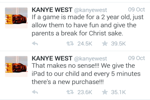 "<div align=""right""> In-app purchases for games have angered rapper Kanye West. Credit: @kanyewest</div>"