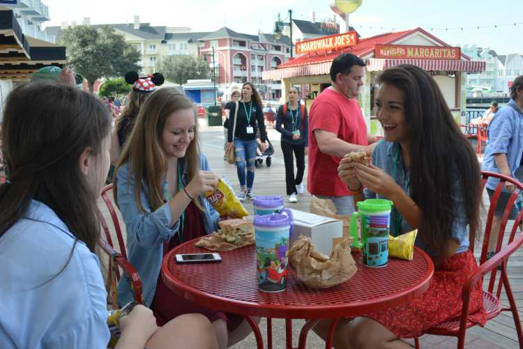 Grabbing a bite to eat are Jordan Arnold, Kaleigh Schreiber and Maya Lee from Shawnee Mission Northwest High School. After a stroll along the boardwalk, they got a bite to eat.
